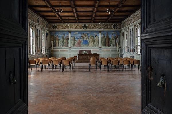 The frescoed library of Sala Morone. Franciscan monastery of San Bernadino